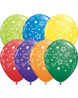 "11"" Star Dots & Confetti Assorted Latex Balloons 50pk"