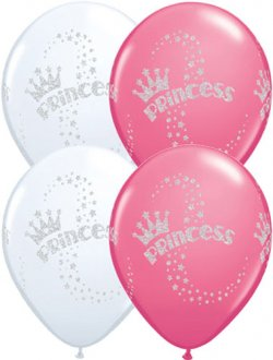 "11"" Princess Sparkle Latex Balloons 25pk"