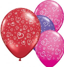 "11"" Swirl Hearts Special Assorted Latex Balloons 25pk"