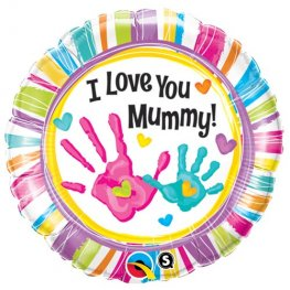 "18"" I Love You Mummy Handprints Foil Balloons"