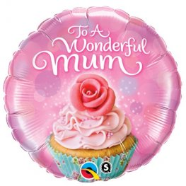 "18"" To A Wonderful Mum Cupcake Foil Balloons"