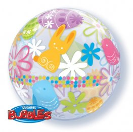 "22"" Spring Bunnies And Flowere Single Bubble Balloons"