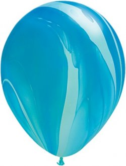"11"" Blue Rainbow Super Agate Latex Balloons 25pk"