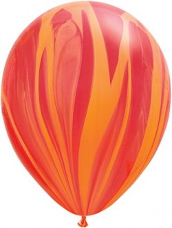 "11"" Red Orange Rainbow Super Agate Balloons 25pk"
