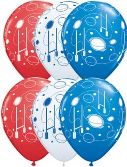 "11"" Rugby Balls and Post Latex Balloons 25pk"