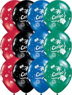 "11"" Casino Assorted Latex Balloons 25pk"