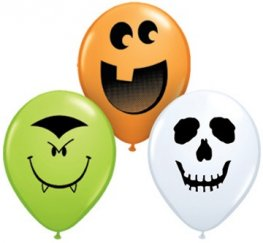 "5"" Halloween Face Assortment Latex Balloons 100pk"