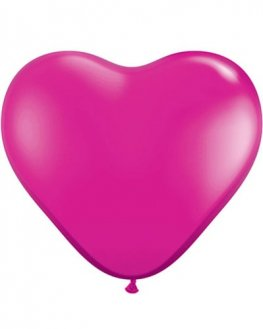 "6"" Magenta Heart Latex Balloons 100pk"