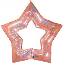 "48"" Rose Gold Linky Star Glitter Holographic Balloons"