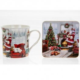 Christmas Santa Mug And Coaster Set