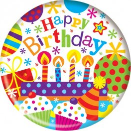 Happy Birthday Cakes And Candles Jumbo Badge