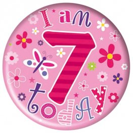 I Am 7 Today Pink Big Badge