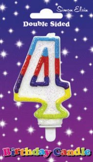 Multi Coloured Candle Number 4 6pk