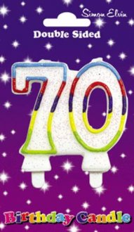 Multi Coloured Candle Number 70 (Pack of 6)