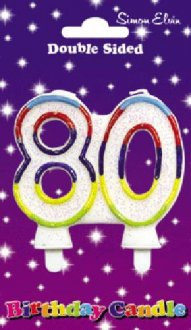 Multi Coloured Candle Number 80 (Pack of 6)
