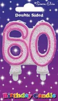 Milestone Pink Candle Number 60 (6 Pack)