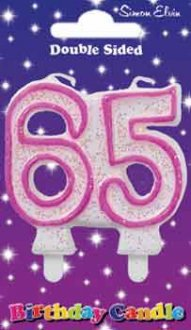 Milestone Pink Candle Number 65 (6 Pack)