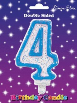 Blue Candle Number 4 (Pack Of 6)