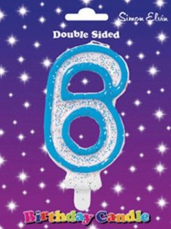 Blue Candle Number 6 (Pack Of 6)
