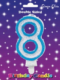 Blue Candle Number 8 (Pack Of 6)