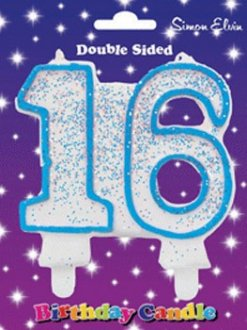 Blue Candle Number 16 (Pack Of 6)