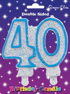 Blue Candle Number 40 (Pack Of 6)