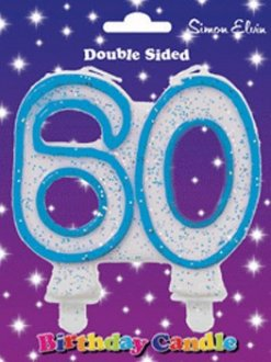 Blue Candle Number 60 (Pack Of 6)