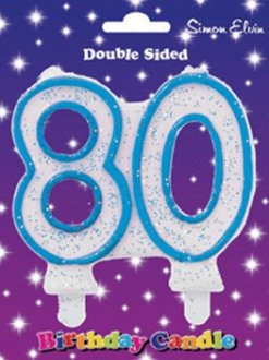 Blue Candle Number 80 (Pack Of 6)