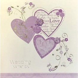 Lilac Hearts Wedding Invitation Cards 6pk