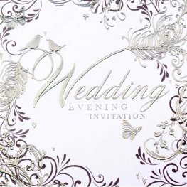 Silver Swirls Wedding Evening Invitation Cards 6pk