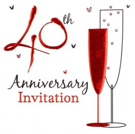 40th Wedding Anniversary Invitations x6
