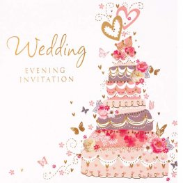Cake Wedding Evening Invitation Cards 6pk