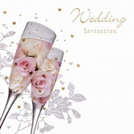 Flowers & Champagne Glasses Wedding Invitation Cards 6pk