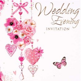 Hearts Wedding Evening Invitation Cards 6pk