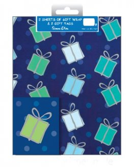 Blue Presents Wrap And Tags