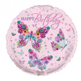 "18"" Happy Birthday Butterflies Foil Balloons"