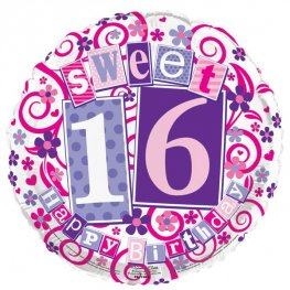 "18"" Pink Sweet 16 Foil Balloons"