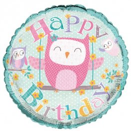 "18"" Happy Birthday Owls Foil Balloons"