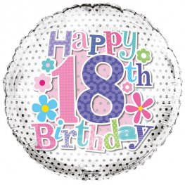 "18"" Happy 18th Birthday Flowers Foil Balloons"