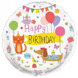 "18"" Happy Birthday To You Animals Foil Balloons"