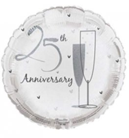 "18"" 25th Wedding Anniversary Foil Balloons"