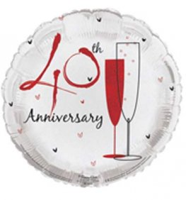 "18"" 40th Wedding Anniversary Foil Balloons"