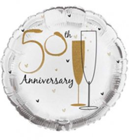 "18"" 50th Wedding Anniversary Foil Balloons"