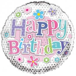 "18"" Happy Birthday Flowers Foil Balloons"