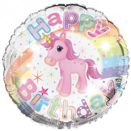 "18"" Happy Birthday Unicorn Foil Balloons"
