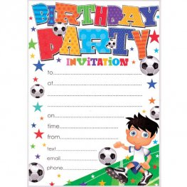 Football Birthday Party Invitations 20pk