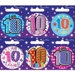 Age 10 Mixed Small Badges x6