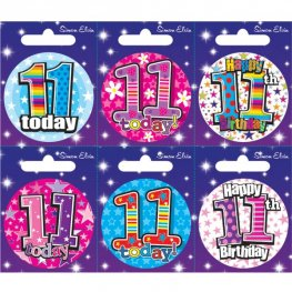 Age 11 Mixed Small Badges x6