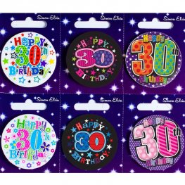 Age 30 Mixed Small Badges x6
