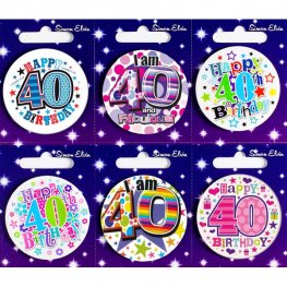 Age 40 Mixed Small Badges x6
